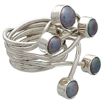 Artist-Crafted Sterling Silver & Iridescent Pearl Boho Ring