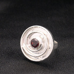 Artist-Crafted Art Deco Swirl Sterling Silver & Garnet Ring