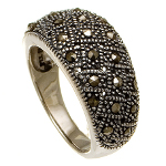 Sterling Silver Genuine Marcasite Cluster Ring
