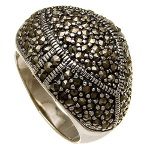 Art Deco Sterling Silver Marcasite Cluster Geometric Ring