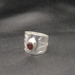 Artist-Crafted Sterling Silver & Garnet Inscribed Ring