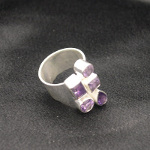 Artist-Crafted Adjustable Sterling Silver & Amethyst Ring