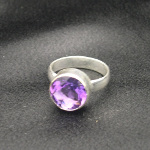 Artist-Crafted Sterling Silver & Large Faceted Amethyst Ring