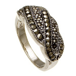Art Deco Sterling Silver Marcasite Braided Band Ring