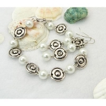 1960s Mod Style Tibetan Silver Bracelet & Earrings Set ~ White