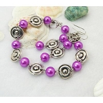 1960s Mod Style Tibetan Silver Bracelet & Earrings Set ~ Fuchsia