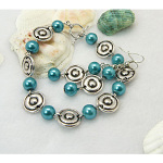 1960s Mod Style Tibetan Silver Bracelet Earrings ~ Peacock Blue