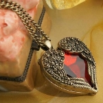 Antiqued Brass Winged Heart Foil Backed Crystal Necklace Set