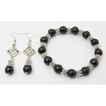 Gemstone Tibetan Silver Spacer Bracelet Set ~ Black Onyx