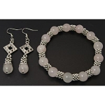 Gemstone Tibetan Silver Spacer Bracelet Set ~ Rose Quartz